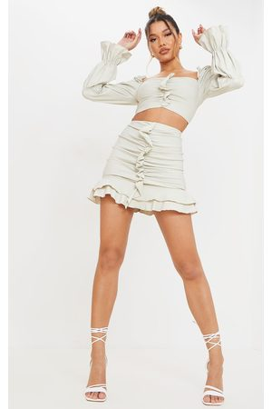 PRETTYLITTLETHING Stone Woven Stretch Ruched Front Mini Skirt