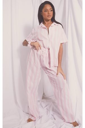 PRETTYLITTLETHING Mix And Match Wide Stripe Cotton Wide Leg PJ Bottoms