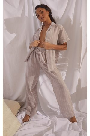 PRETTYLITTLETHING Women Pajamas - Stone Mix And Match Wide Stripe Cotton Wide Leg PJ Bottoms
