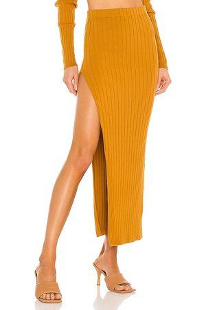 RONNY KOBO Irenna Knit Skirt in Brown.