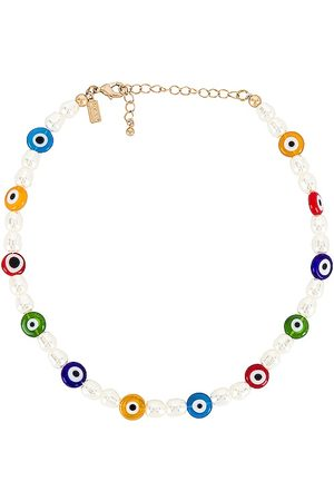 8 Other Reasons Beaded Evil Eye Choker Necklace in White.