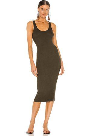 ENZA COSTA Silk Rib Tank Midi Dress in Dark .