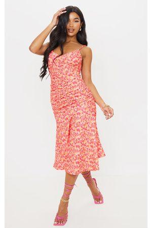 PRETTYLITTLETHING Floral Print Strappy Ruched Flare Hem Midi Dress
