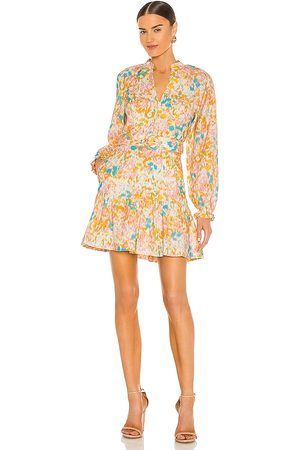 Rebecca Vallance Ottoman Long Sleeve Mini Dress in Orange,Pink.