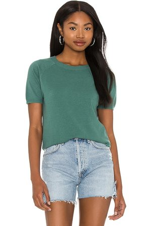 LBLC The Label Women Tops - Alex Short Sleeve Sweater Top in Teal.