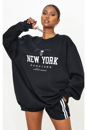 PRETTYLITTLETHING New York Downtown Slogan Printed Sweatshirt