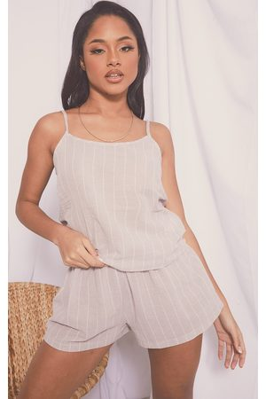 PRETTYLITTLETHING Stone Mix And Match Wide Stripe Cotton Cami Pj Top