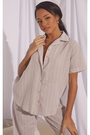 PRETTYLITTLETHING Women Short sleeves - Stone Mix And Match Wide Stripe Cotton Short Sleeve PJ Shirt