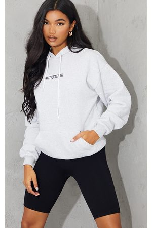 PRETTYLITTLETHING Ash Grey Embroidered Slogan Pocket Hoodie