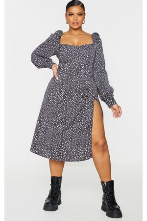 PRETTYLITTLETHING Women Printed Dresses - Plus Ditsy Floral Puff Sleeve Midi Dress