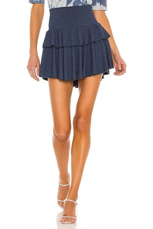 Chaser Cozy Rib Flouncy Tiered Mini Skirt in Blue.