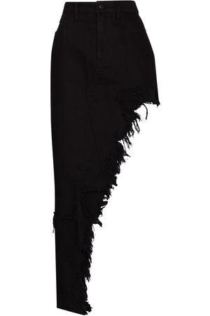 Alexander Wang Women Denim Skirts - Distressed-effect asymmetric denim skirt