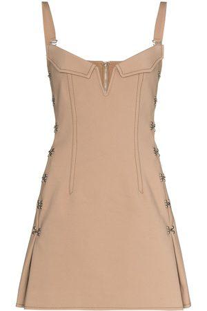 DION LEE Women Party Dresses - Accordion eyelet-detailing minidress - Neutrals