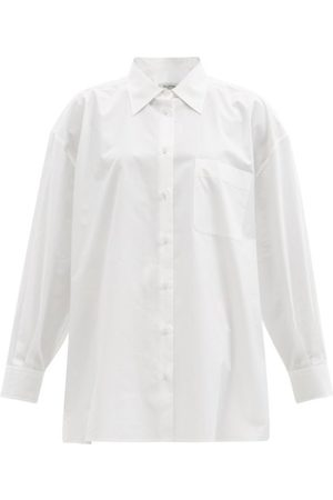 VALENTINO Gathered Oversized Cotton-poplin Shirt - Womens