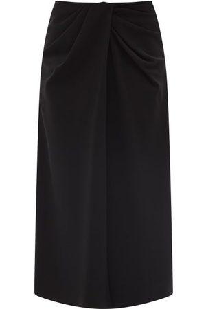 VALENTINO Twisted-waist Silk-blend Twill Midi Skirt - Womens