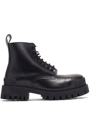 Balenciaga Men Lace-up Boots - Strike Leather Combat Boots - Mens