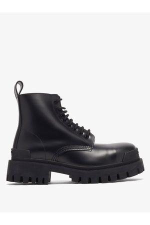 Balenciaga Strike Leather Combat Boots - Mens