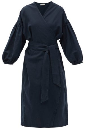 General Sleep Agnes Balloon-sleeve Organic Cotton-blend Robe - Womens - Navy