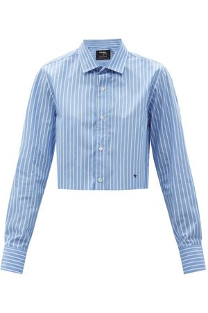 HOMMEGIRLS Cropped Striped Cotton-poplin Shirt - Womens - Stripe