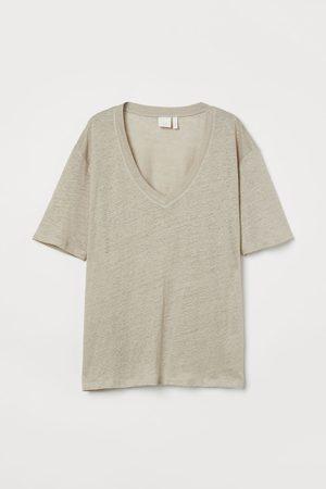 H&M Women T-shirts - Linen T-shirt