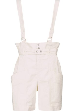 Isabel Marant Effie linen and cotton suspender shorts