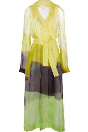 DRIES VAN NOTEN Printed belted silk tulle coat