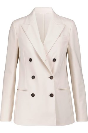 Brunello Cucinelli Women Blazers - Double-breasted cotton-blend jersey blazer