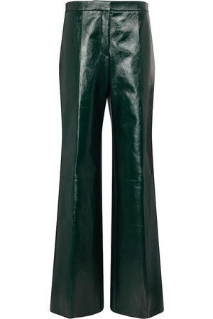 Jil Sander Women Leather Pants - High-rise leather wide-leg pants