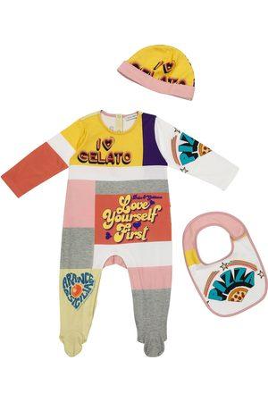 Dolce & Gabbana Rompers - Baby cotton onesie, bib and hat set