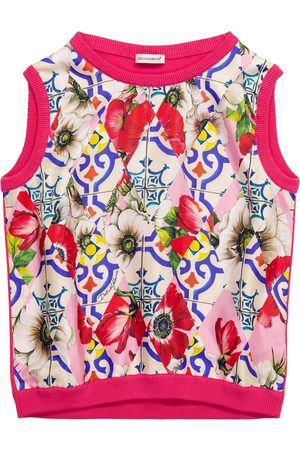 Dolce & Gabbana Girls Tank Tops - Printed silk and cotton sweater vest