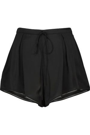 Saint Laurent Women Shorts - Pleated silk satin shorts