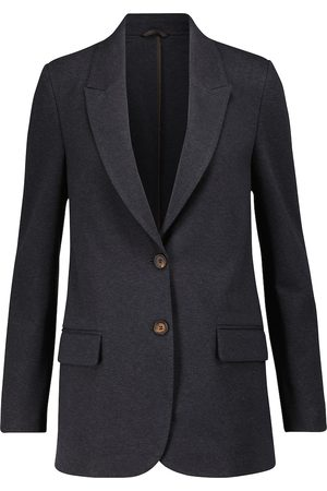 Brunello Cucinelli Women Blazers - Single-breasted cotton-blend jersey blazer
