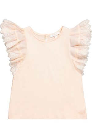 Chloé Girls Tank Tops - Ruffled cotton-blend tank top