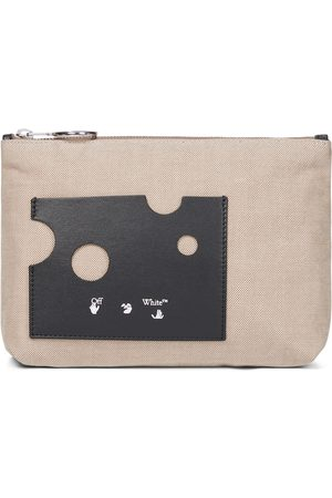 OFF-WHITE Repeat leather-trimmed canvas pouch