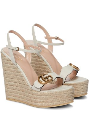 Gucci Women Espadrilles - Double GG leather espadrille wedge sandals