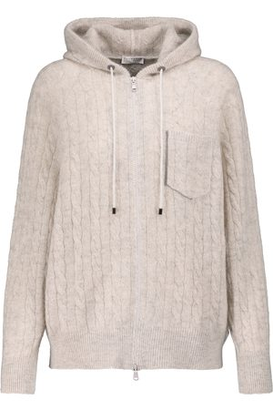 Brunello Cucinelli Women Hoodies - Cable-knit hoodie