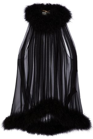 Saint Laurent Feather-trimmed silk crêpe top