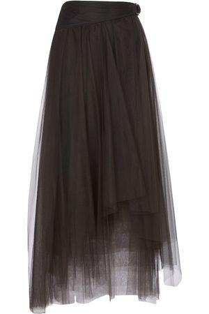 Brunello Cucinelli Asymmetric tulle maxi skirt