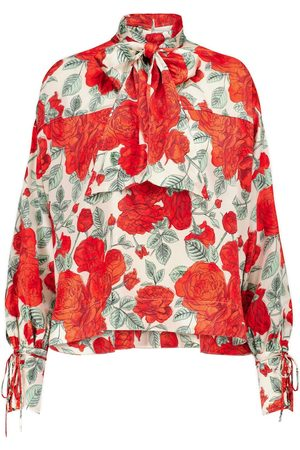 Ganni Women High Necks - Floral stretch-silk turtleneck blouse
