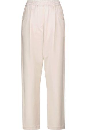 Brunello Cucinelli High-rise straight cotton-blend jersey pants