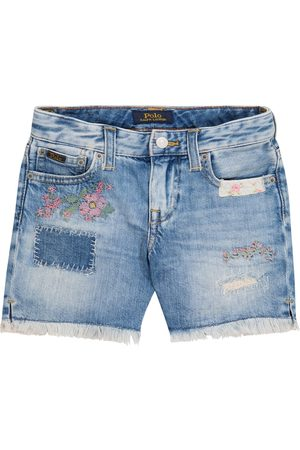 Ralph Lauren Girls Shorts - Embroidered denim shorts