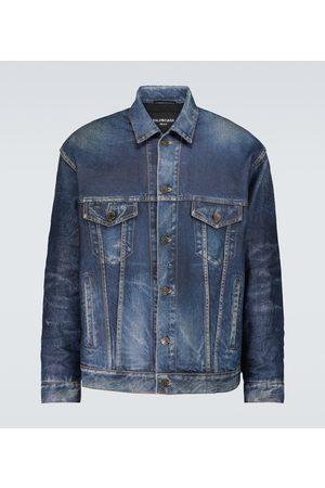 Balenciaga Men Leather Jackets - Denim-effect printed leather jacket