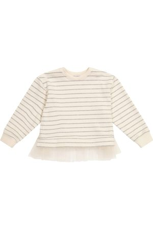 Brunello Cucinelli Girls Hoodies - Tulle-trimmed striped sweater