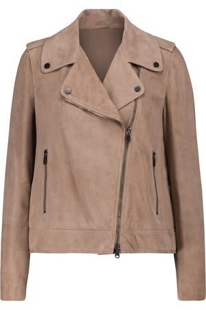 Brunello Cucinelli Women Leather Jackets - Suede biker jacket
