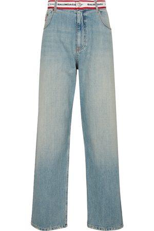 Balenciaga Logo high-rise wide-leg jeans