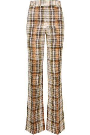 Victoria Beckham Women Wide Leg Pants - Checked linen flared pants