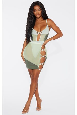 PRETTYLITTLETHING Shape Sage Mesh Panel Detail Lace Up Side Bodycon Skirt