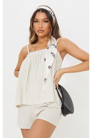 PRETTYLITTLETHING Stone Linen Floaty Strappy Crop Top