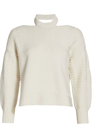 Alexander McQueen Women Hoodies - Women's Crewneck Cutout Shoulder Pullover - Ivory - Size Medium
