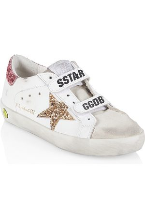 Golden Goose Kids School Shoes - Kidl's Old School Glitter Leather & Suede Sneakers - Ice - Size 12 (Child)